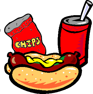 Hotdog clipart chip drink. Hot dogs and chips