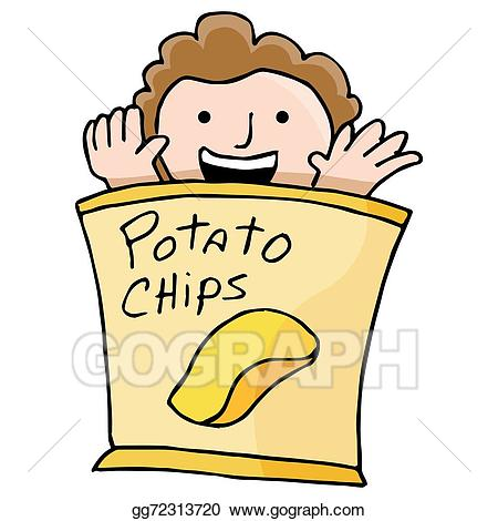 Chip clipart kid. Vector art potato drawing