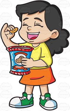 A young girl opening. Chip clipart kid