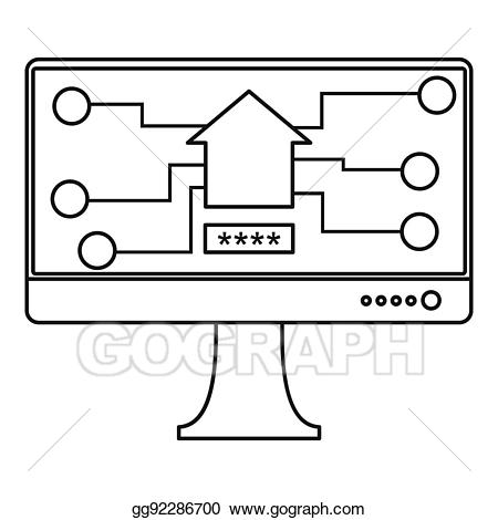 Chip clipart outline. Stock illustration monitor icon