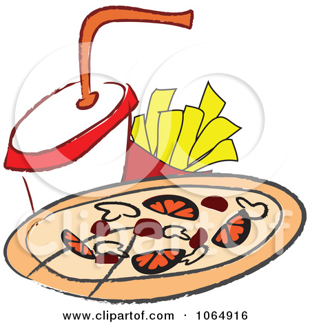 Chips clipart pizza. And fries