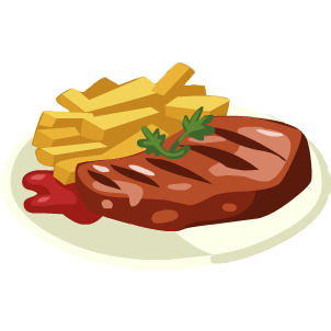 Steak and chips main. Chip clipart sausage