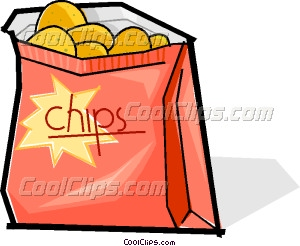 Chips clipart snack. Bag of vector clip