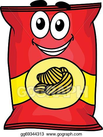 Clip art vector cartoon. Chip clipart snack