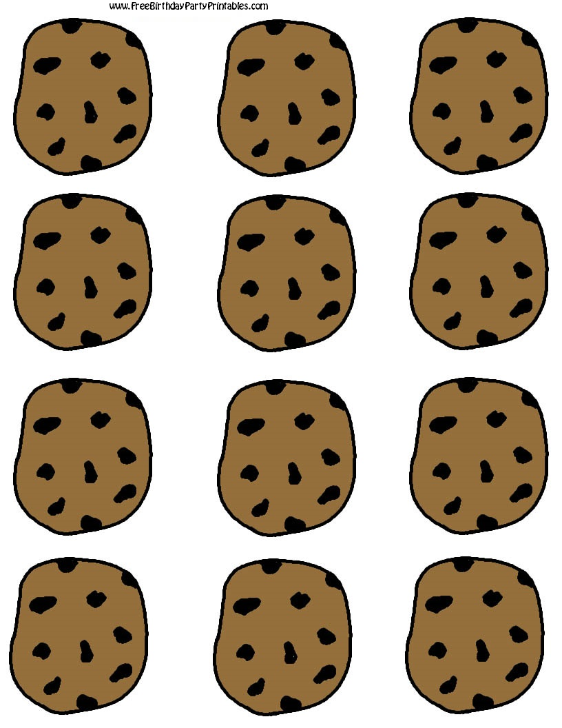 Chocolate chip cooke printable. Chips clipart template