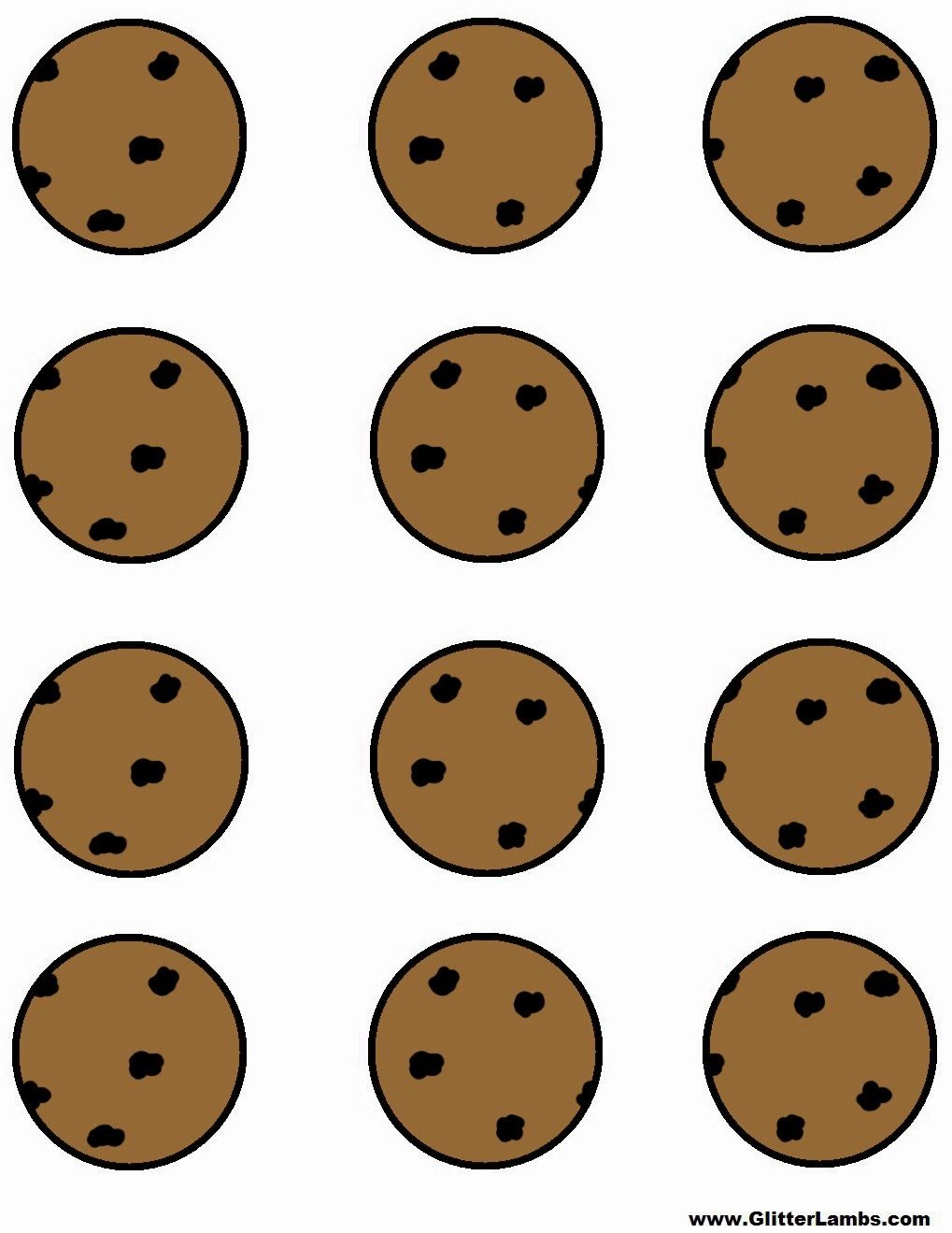 Glitter lambs cookie monster. Chips clipart template