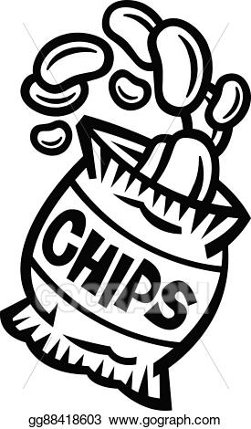 Chips clipart chip line. Eps vector bag of