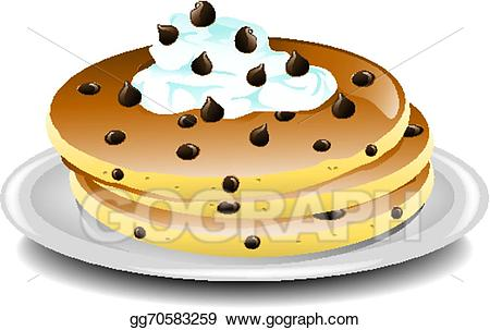 Chocolate clipart drawing. Vector art chip pancakes