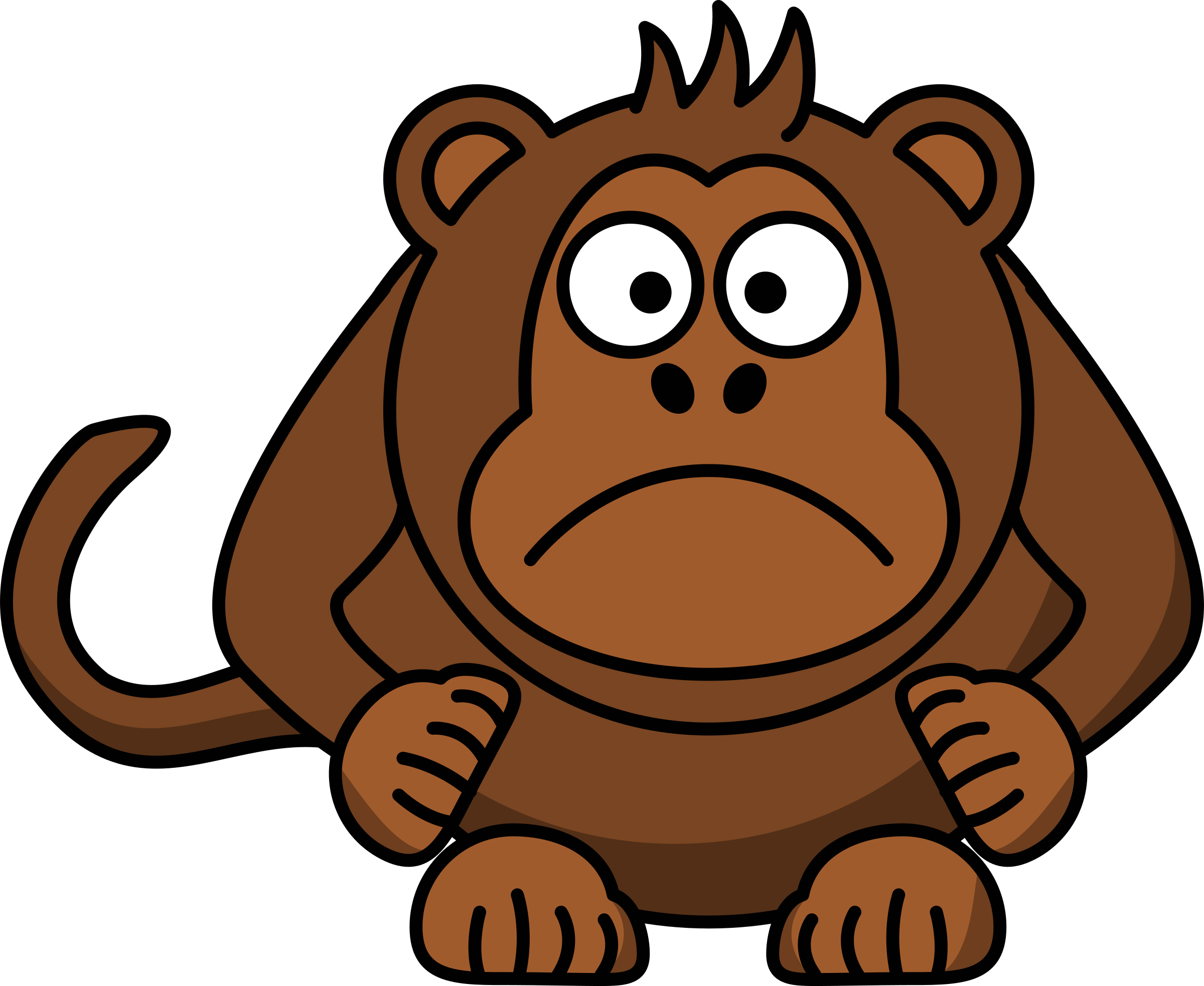 Angry cartoon monkey icons. Mad clipart outraged