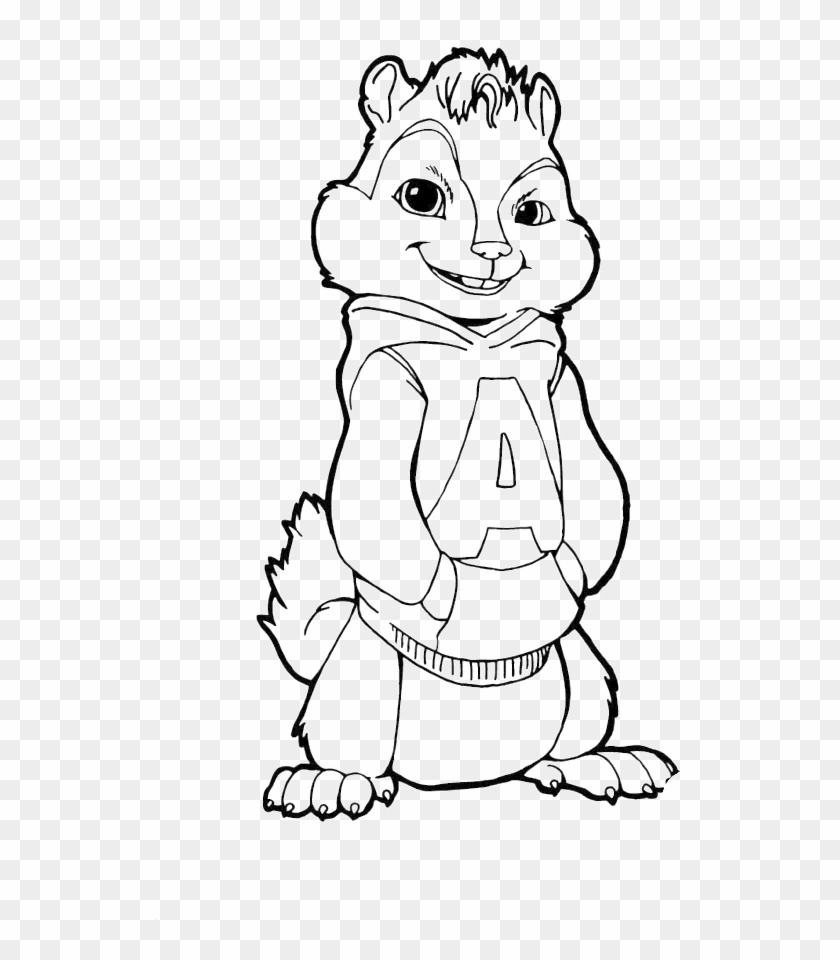 Chipmunk clipart coloring page. Alvin and the chipmunks