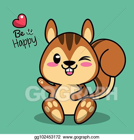 Chipmunk clipart kawaii. Vector stock color background