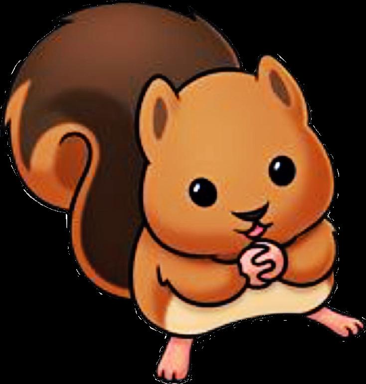 Squirrel sokawaii cartoon animals. Chipmunk clipart kawaii