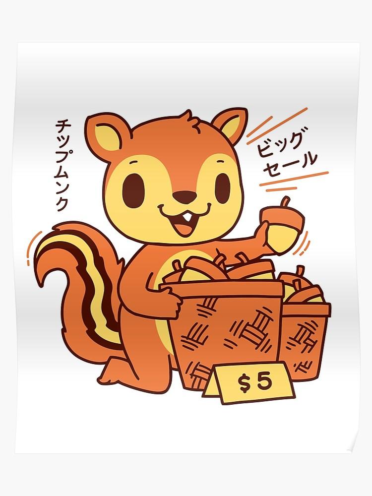 T shirt cute japanese. Chipmunk clipart kawaii