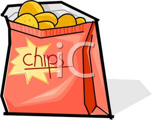 An open bag of. Chips clipart