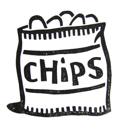 Station . Chips clipart black and white