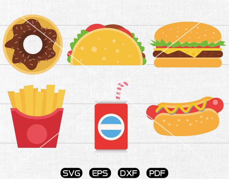 Chips clipart hamburger. Fast food svg taco