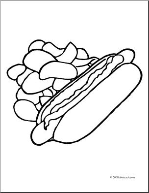 Chips clipart hot dog. Clip art coloring page