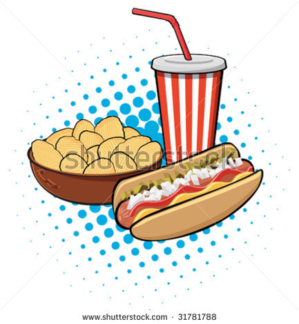 Drink and . Chips clipart hot dog