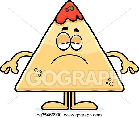 Chips clipart nacho chip. Vector sad cartoon and