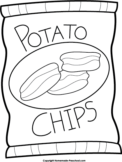 Chips clipart outline. Black and white pencil