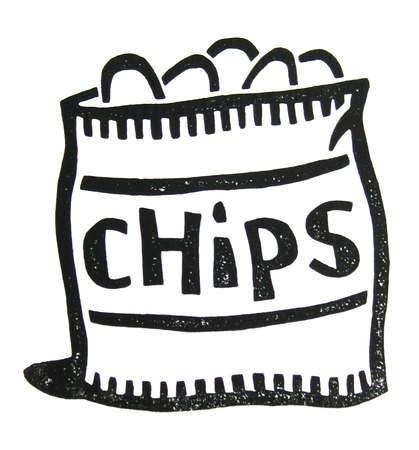 Chip clip art black. Chips clipart outline