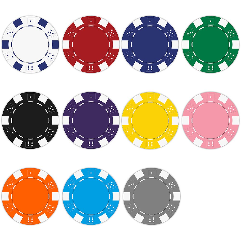 Striped dice clay composite. Chips clipart poker