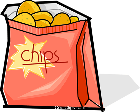 Junk food cartoon text. Chips clipart snack