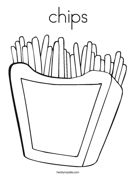 Coloring page twisty noodle. Chips clipart template