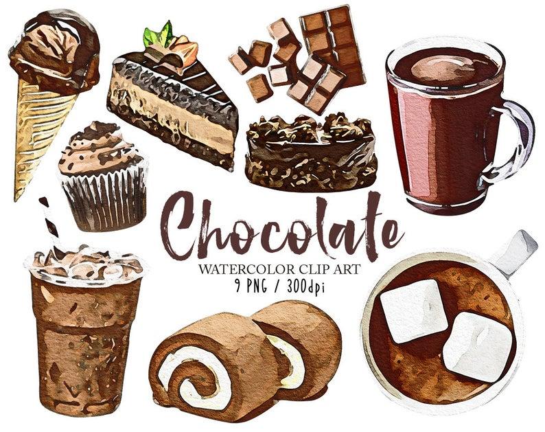 Chocolate clipart. Watercolor dessert clip art