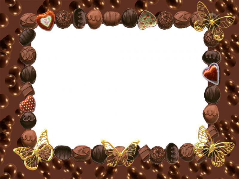 Chocolate clipart border. Frame backgrounds presnetation ppt