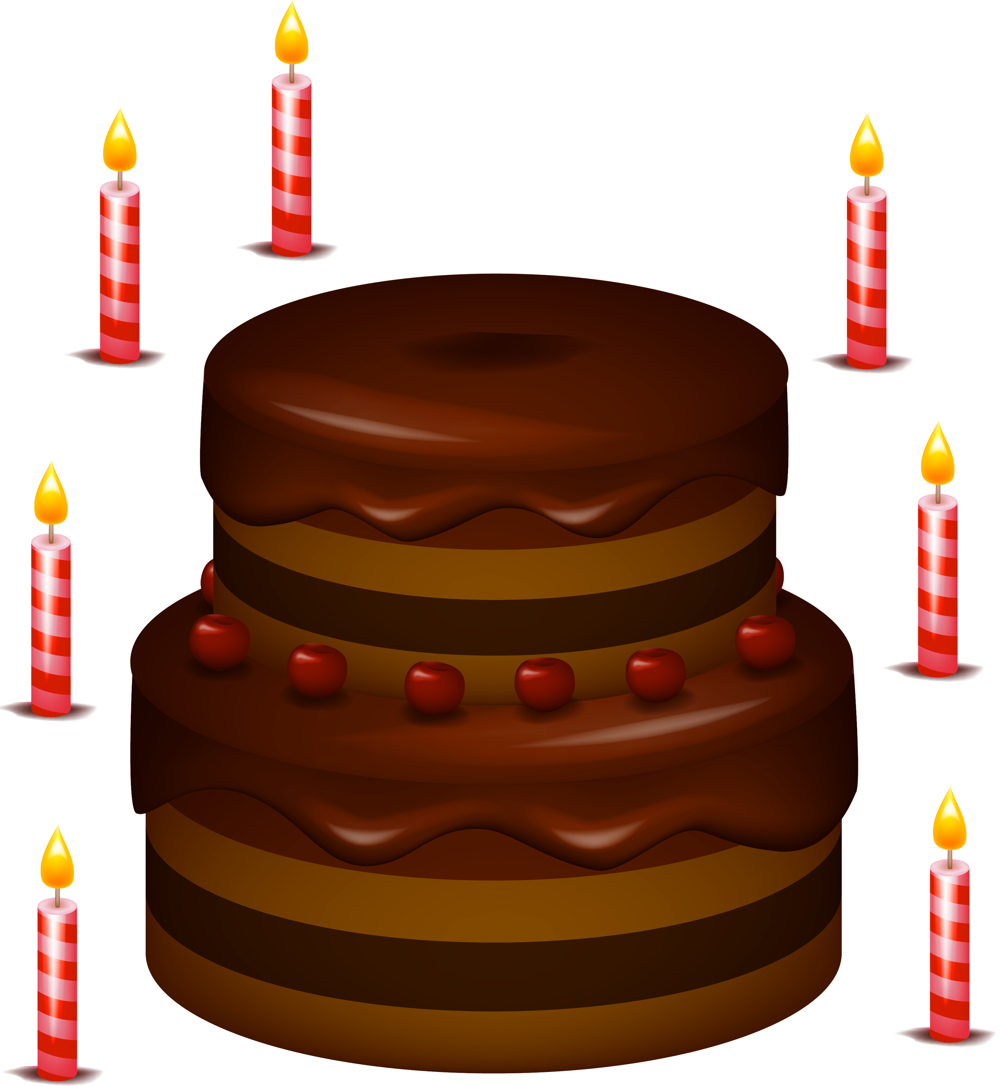 Chocolate clipart brown chocolate. Cake with candles png
