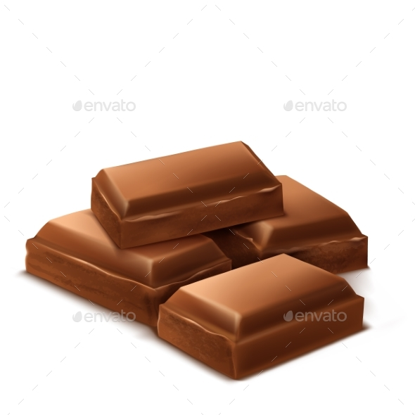 Chocolate clipart brown object. Realistic bars by vectorpocket