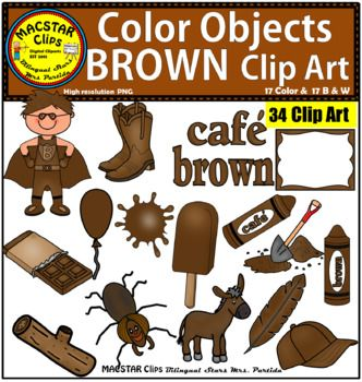 Yellow color objects clip. Chocolate clipart brown object