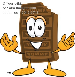 Cartoon chocolate with hands. Bar clipart hand on