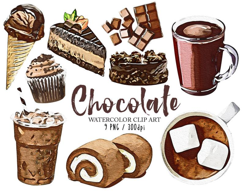 Watercolor dessert clip art. Chocolate clipart chocloate