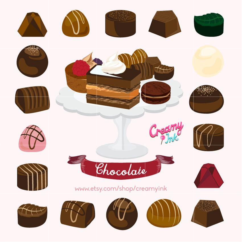 Chocolate clipart chocolate truffle. Cake digital vector clip