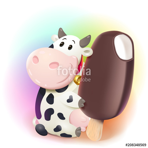Cows clipart chocolate. Cartoon friendly cow holding