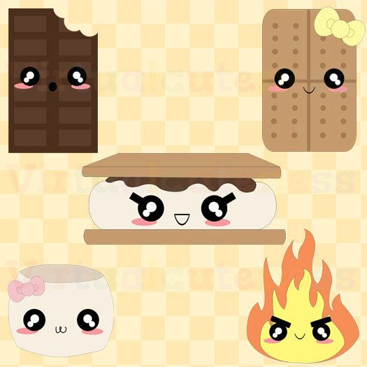 Kawaii s mores marshmallow. Chocolate clipart cute