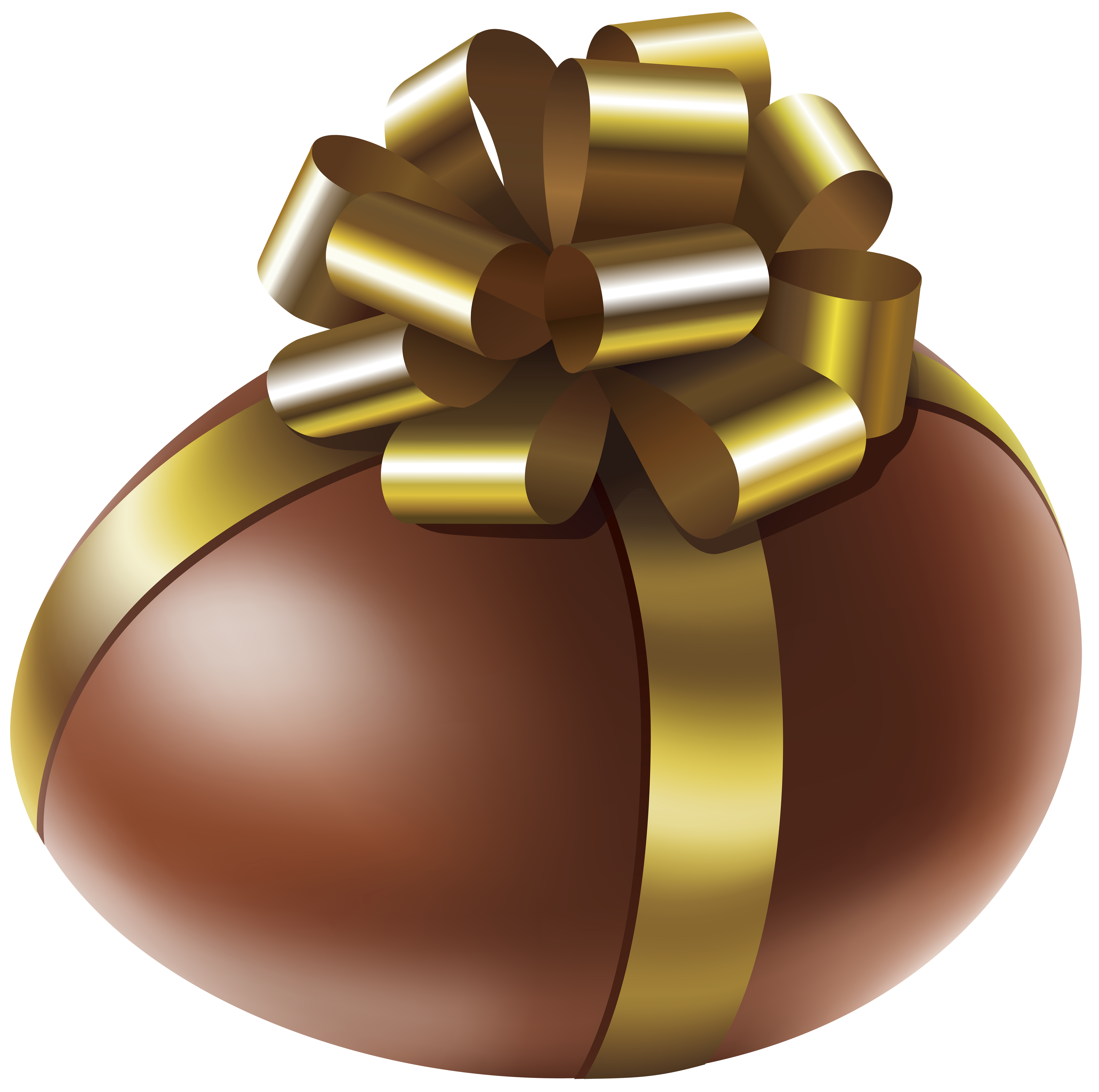 Egg with gold bow. Chocolate clipart easter