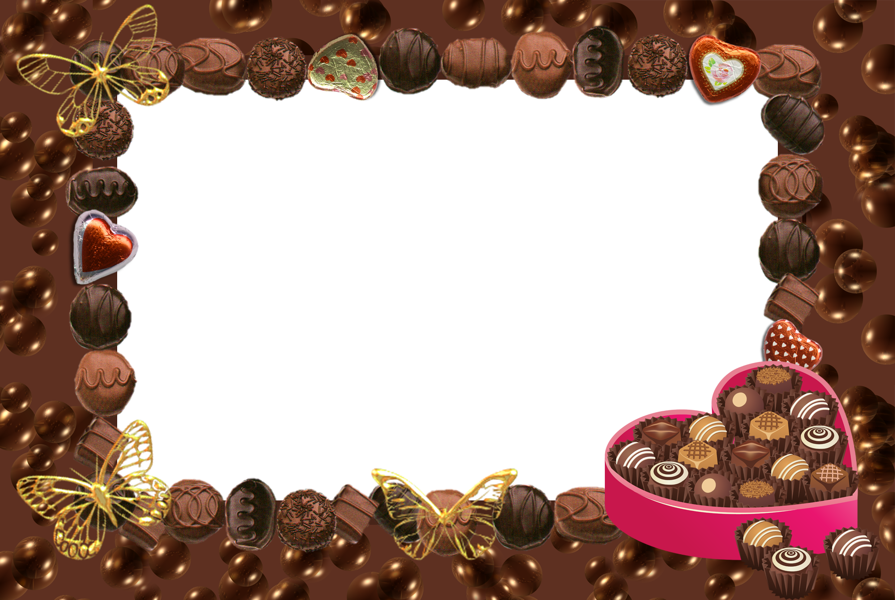Clipart frame chocolate. Transparent with hearts and