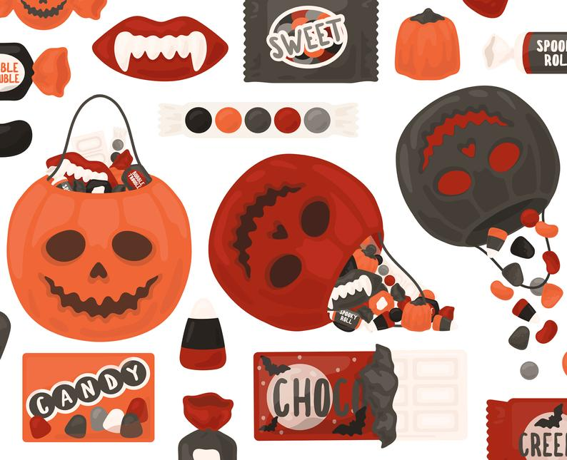 Halloween clipart chocolate. Gothic candy spooky clip