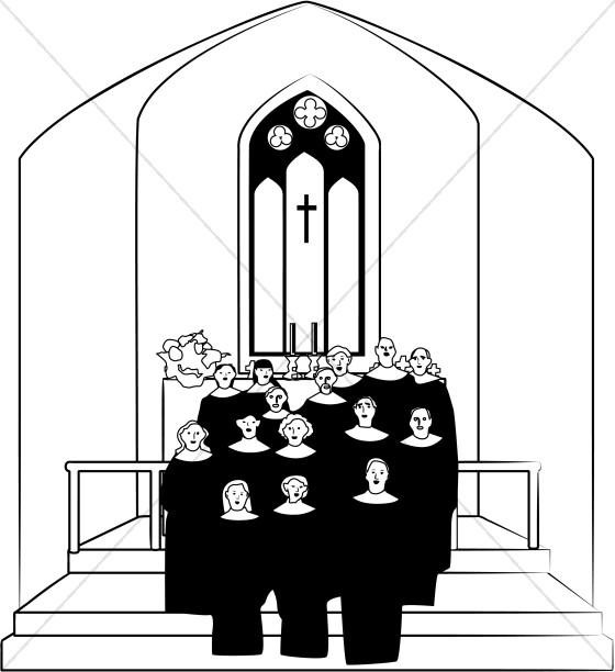 Church in. Choir clipart black and white