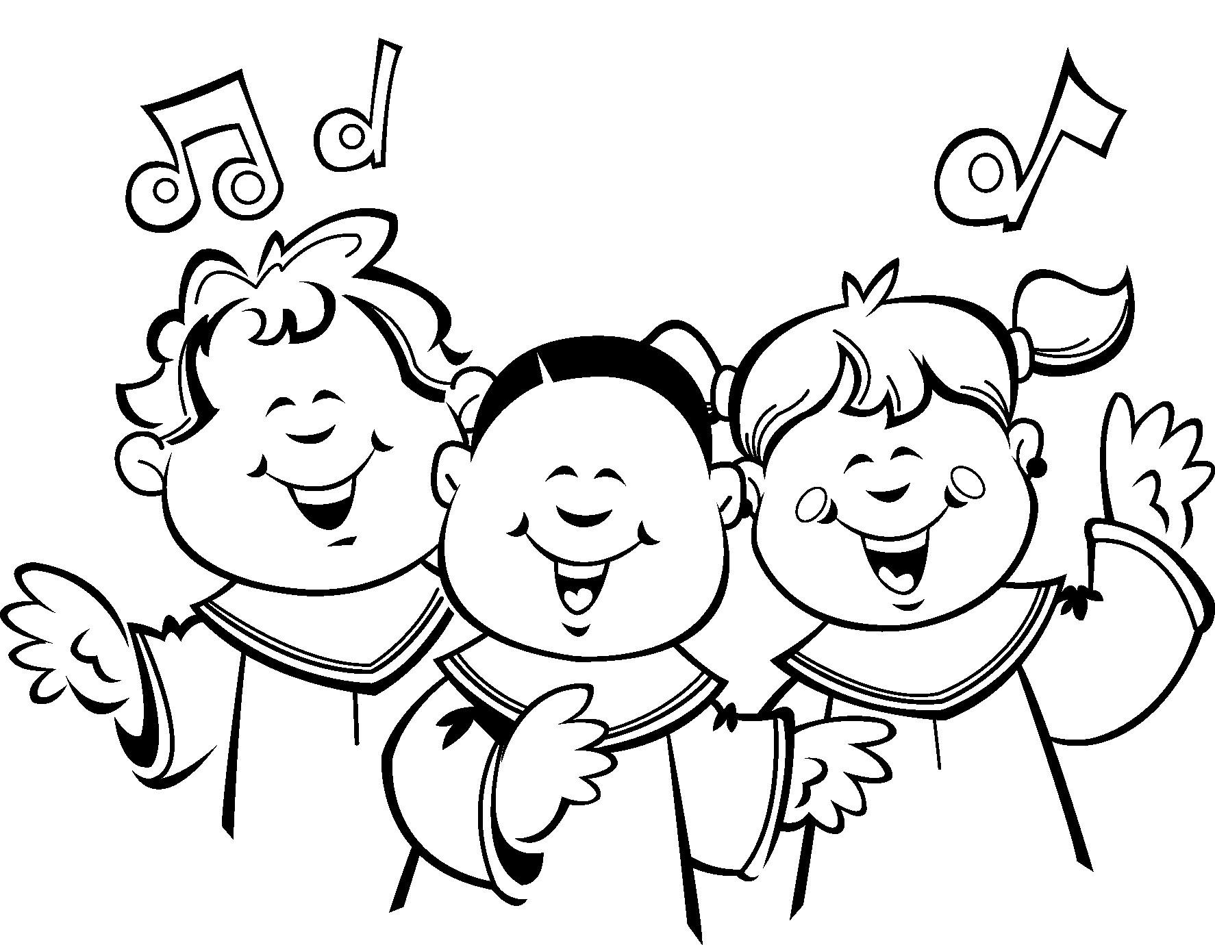 Children choir clip art. Chorus clipart black and white