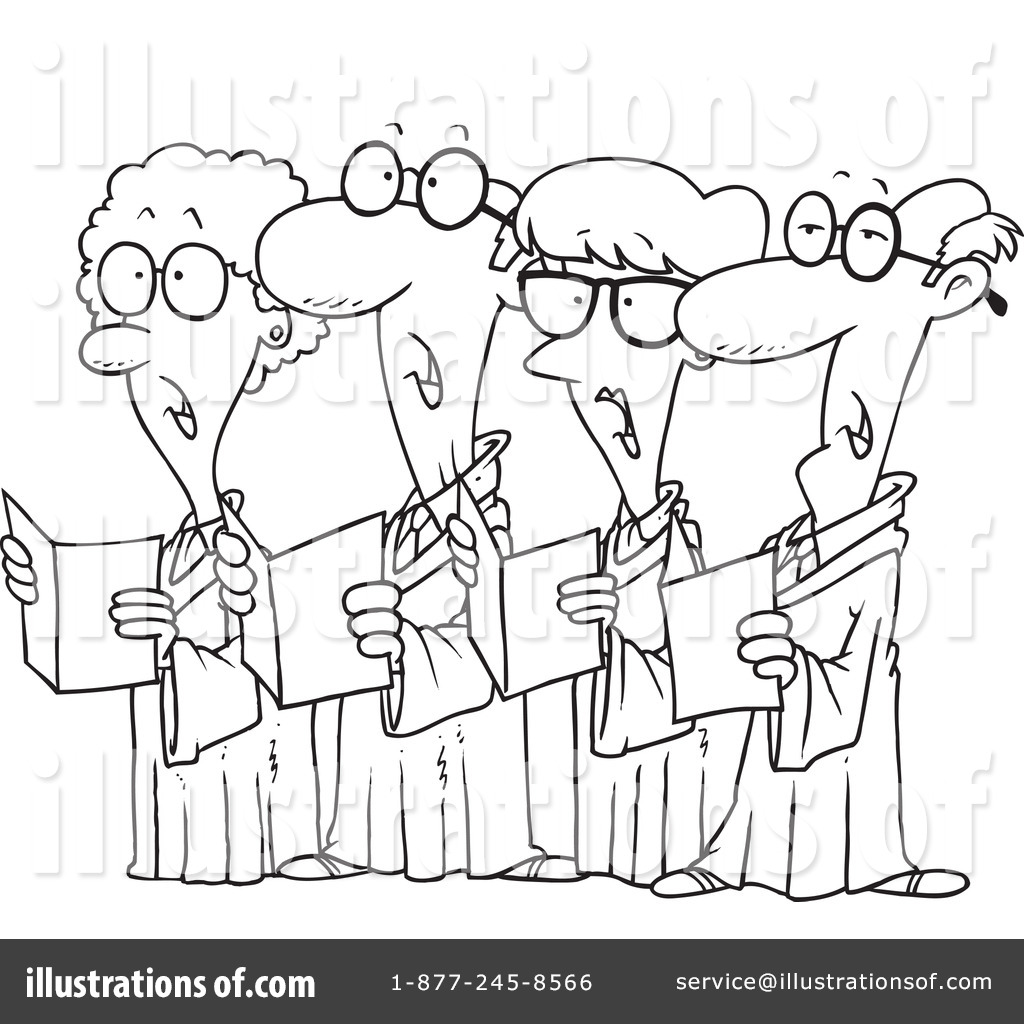 Chorus clipart black and white. Choir illustration by toonaday