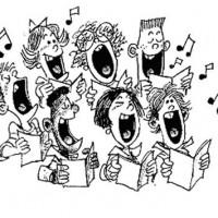 Christmas cool . Choir clipart black and white