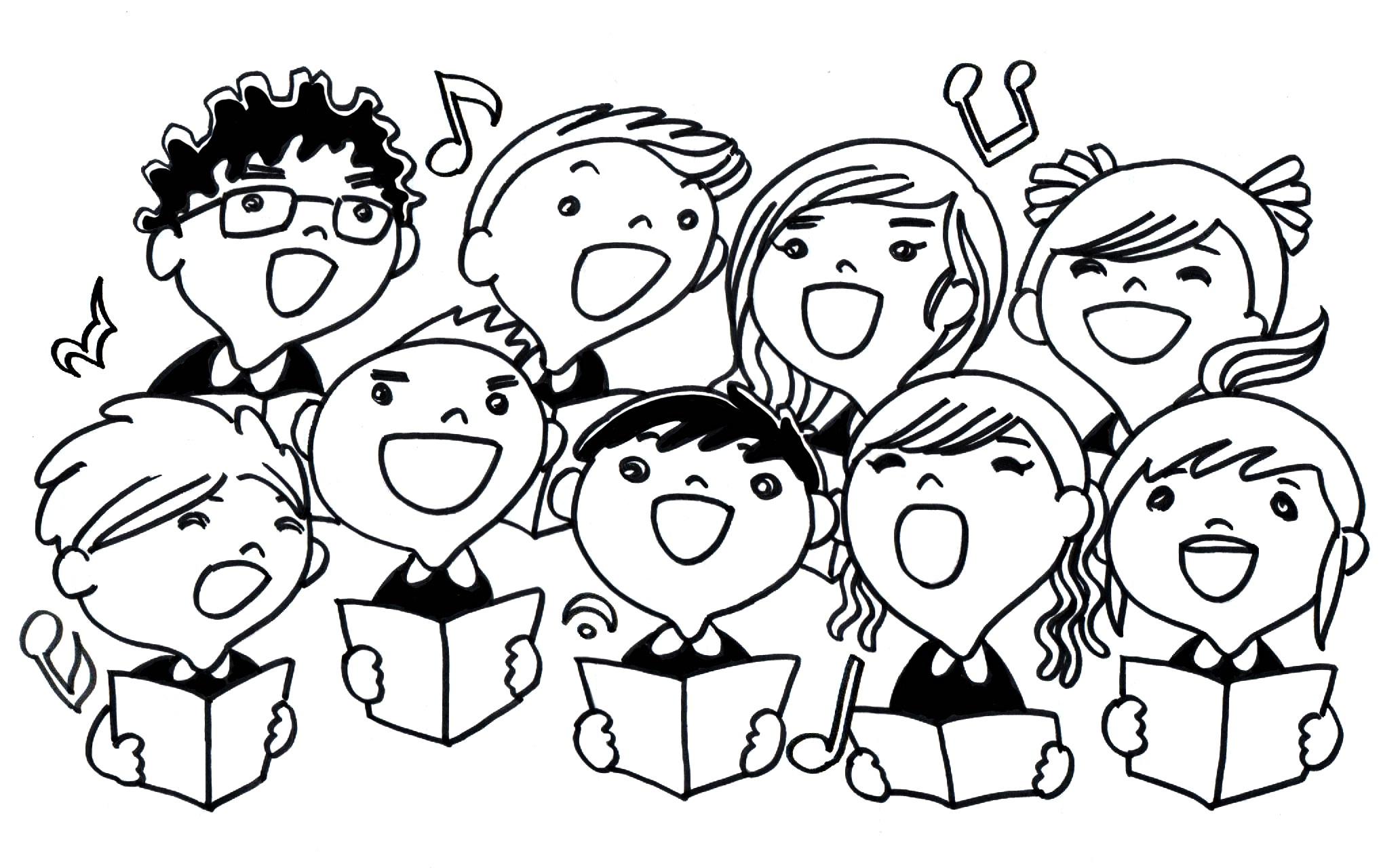 Choir panda free images. Chorus clipart black and white