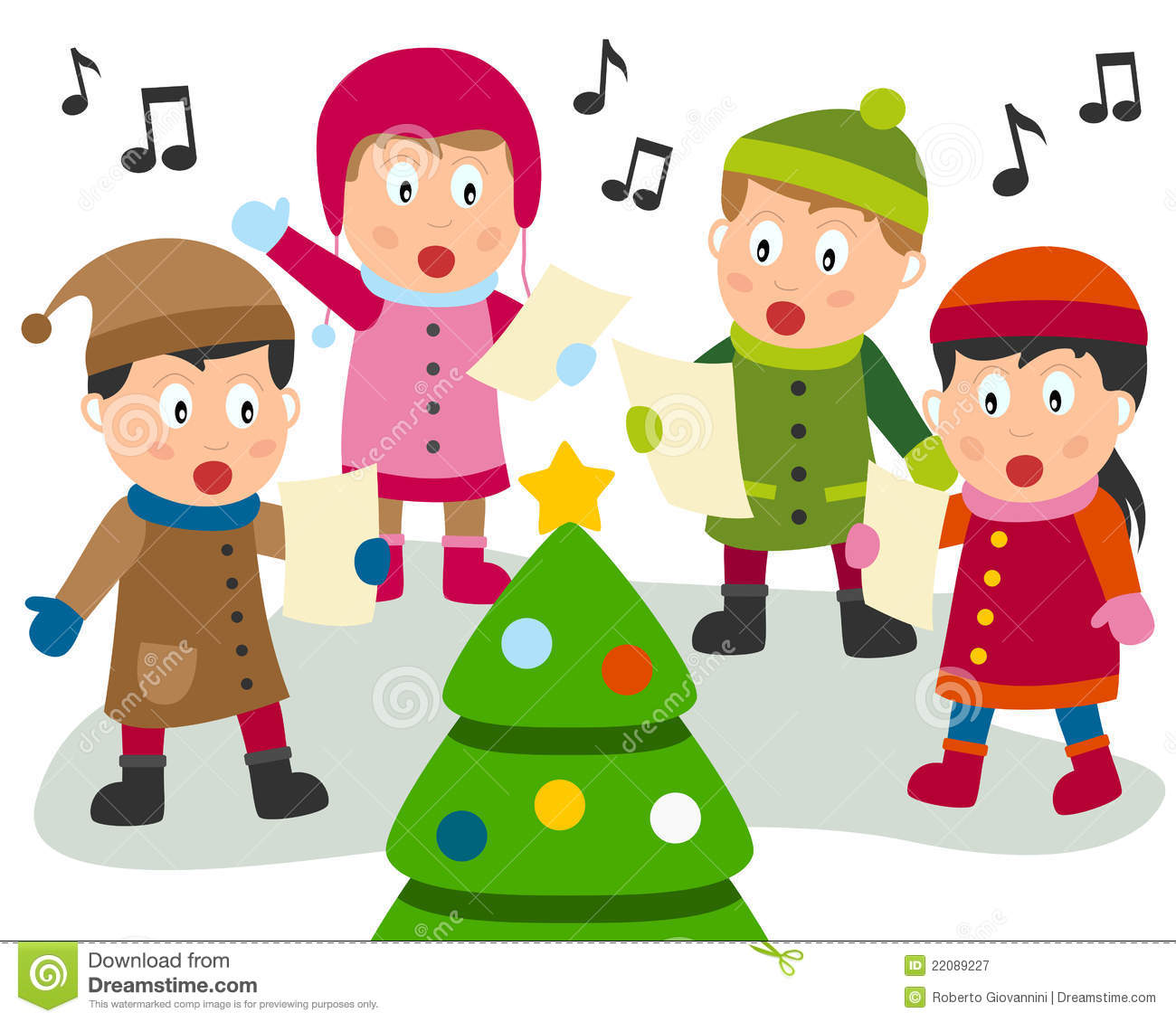 collection of singing. Caroling clipart carol service
