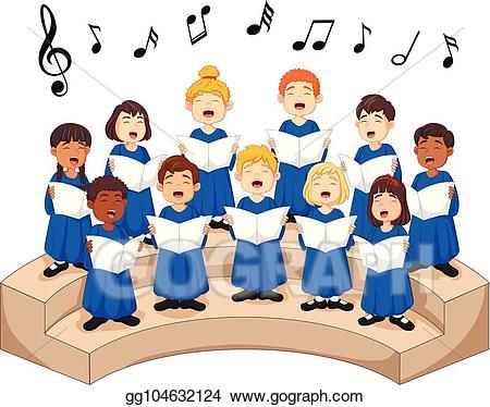 Chorus clipart choir singer. Clip art vector girls