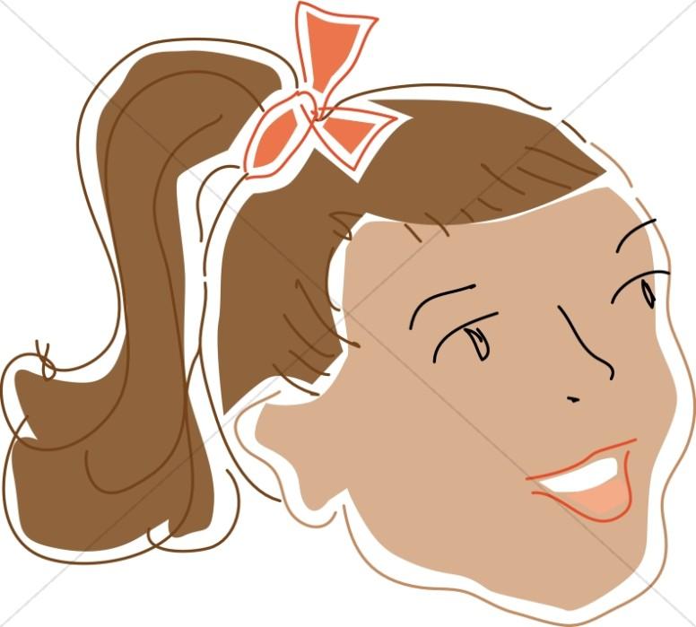 Girl with ponytail face. Choir clipart cute