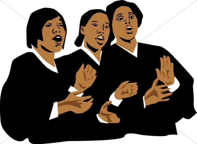 Three church singers. Choir clipart gospel choir